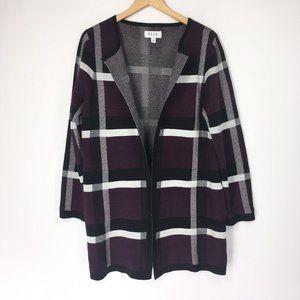 Elle M Sweater Open Front Cardigan Duster Plum